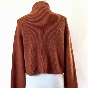 Leith Sweaters - Leith Brown Spice Cropped Cowl Neck Sweater